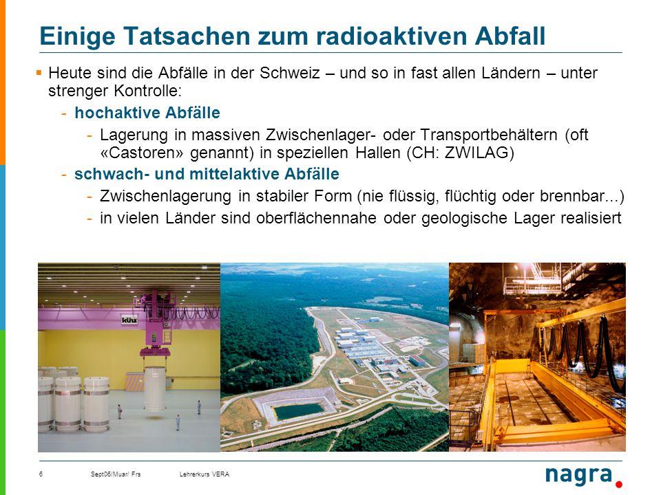 Sept06/Muar/ FrsLehrerkurs VERA6 Einige Tatsachen zum radioaktiven Abfall Heute sind die Abfälle in der Schweiz – und so in fast allen Ländern – unter