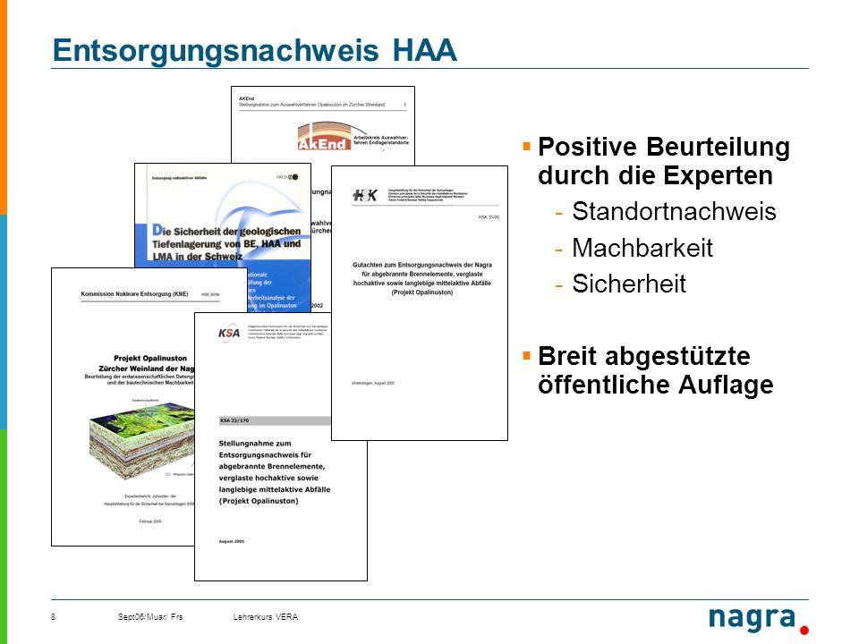 Sept06/Muar/ FrsLehrerkurs VERA8 Entsorgungsnachweis HAA Positive Beurteilung durch die Experten -Standortnachweis -Machbarkeit -Sicherheit Breit abge