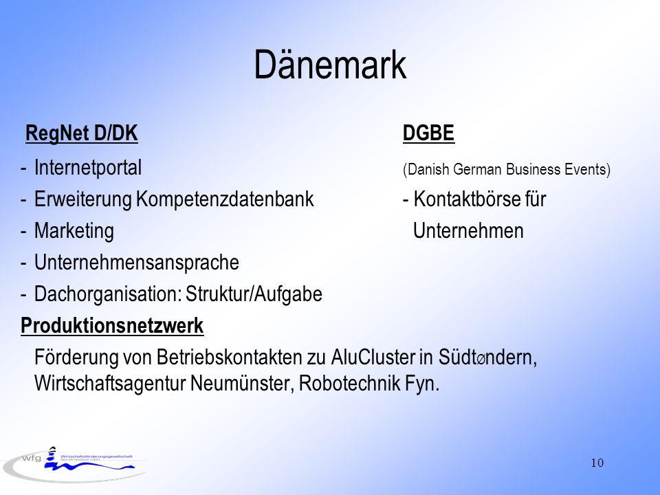 10 Dänemark RegNet D/DKDGBE -Internetportal (Danish German Business Events) -Erweiterung Kompetenzdatenbank- Kontaktbörse für -Marketing Unternehmen -