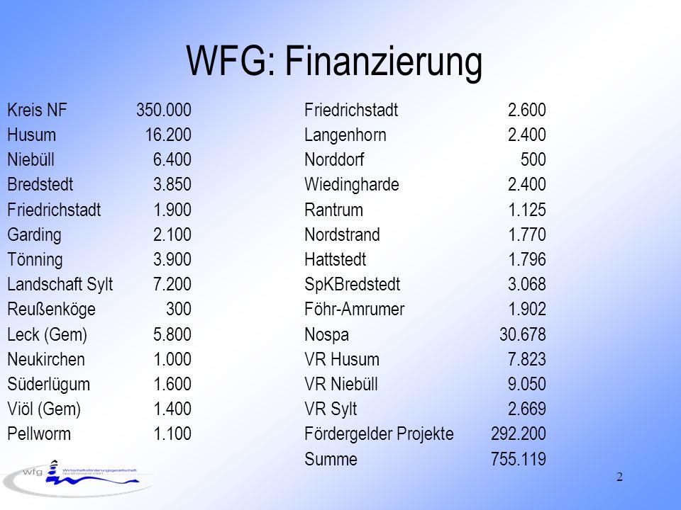 2 WFG: Finanzierung Kreis NF 350.000Friedrichstadt2.600 Husum16.200Langenhorn2.400 Niebüll6.400Norddorf500 Bredstedt3.850Wiedingharde2.400 Friedrichstadt1.900Rantrum1.125 Garding2.100Nordstrand1.770 Tönning3.900Hattstedt1.796 Landschaft Sylt7.200SpKBredstedt3.068 Reußenköge300Föhr-Amrumer1.902 Leck (Gem)5.800Nospa30.678 Neukirchen1.000VR Husum7.823 Süderlügum1.600VR Niebüll9.050 Viöl (Gem)1.400VR Sylt2.669 Pellworm1.100Fördergelder Projekte292.200 Summe755.119
