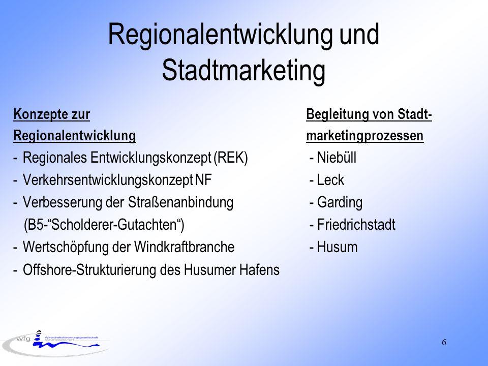 6 Regionalentwicklung und Stadtmarketing Konzepte zurBegleitung von Stadt- Regionalentwicklungmarketingprozessen -Regionales Entwicklungskonzept (REK) - Niebüll -Verkehrsentwicklungskonzept NF - Leck -Verbesserung der Straßenanbindung - Garding (B5-Scholderer-Gutachten) - Friedrichstadt -Wertschöpfung der Windkraftbranche - Husum -Offshore-Strukturierung des Husumer Hafens