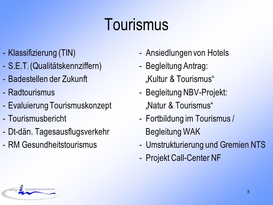 8 Tourismus -Klassifizierung (TIN)- Ansiedlungen von Hotels -S.E.T.(Qualitätskennziffern)- Begleitung Antrag: -Badestellen der Zukunft Kultur & Tourismus -Radtourismus- Begleitung NBV-Projekt: -Evaluierung Tourismuskonzept Natur & Tourismus -Tourismusbericht- Fortbildung im Tourismus / -Dt-dän.