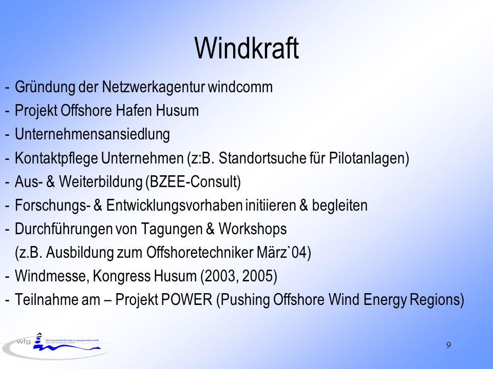 9 Windkraft -Gründung der Netzwerkagentur windcomm -Projekt Offshore Hafen Husum -Unternehmensansiedlung -Kontaktpflege Unternehmen (z:B. Standortsuch