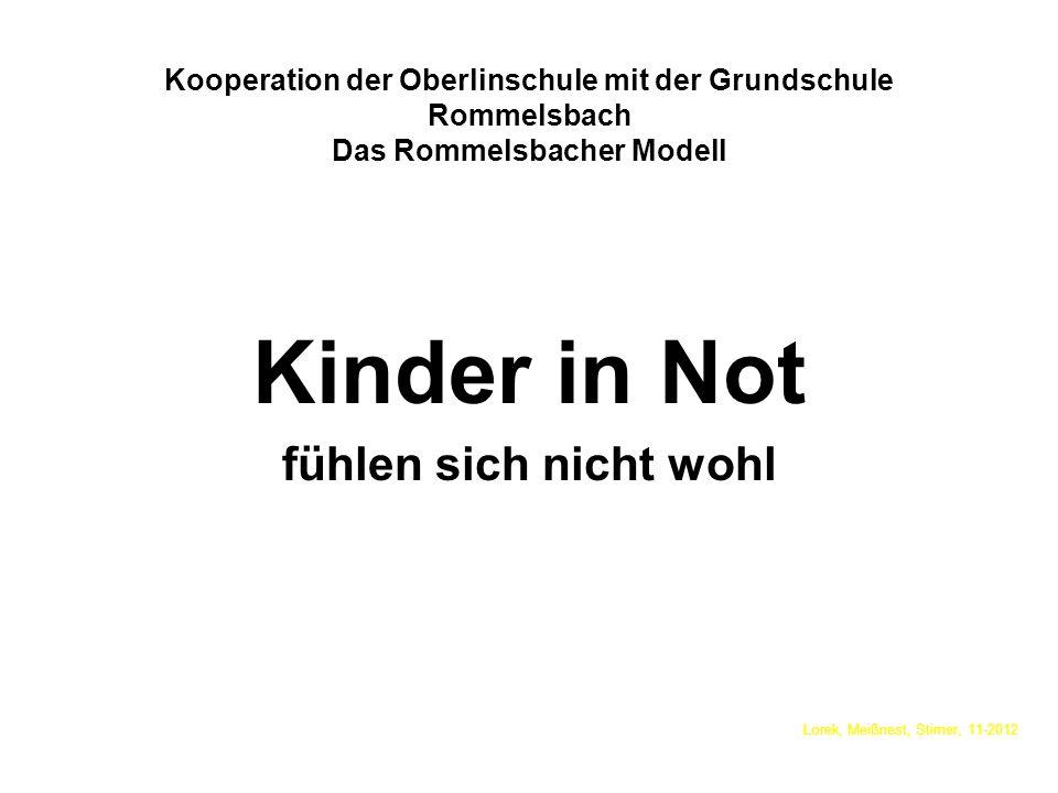 Kooperation der Oberlinschule mit der Grundschule Rommelsbach Das Rommelsbacher Modell Kinder in Not fühlen sich nicht wohl Lorek, Meißnest, Stirner,
