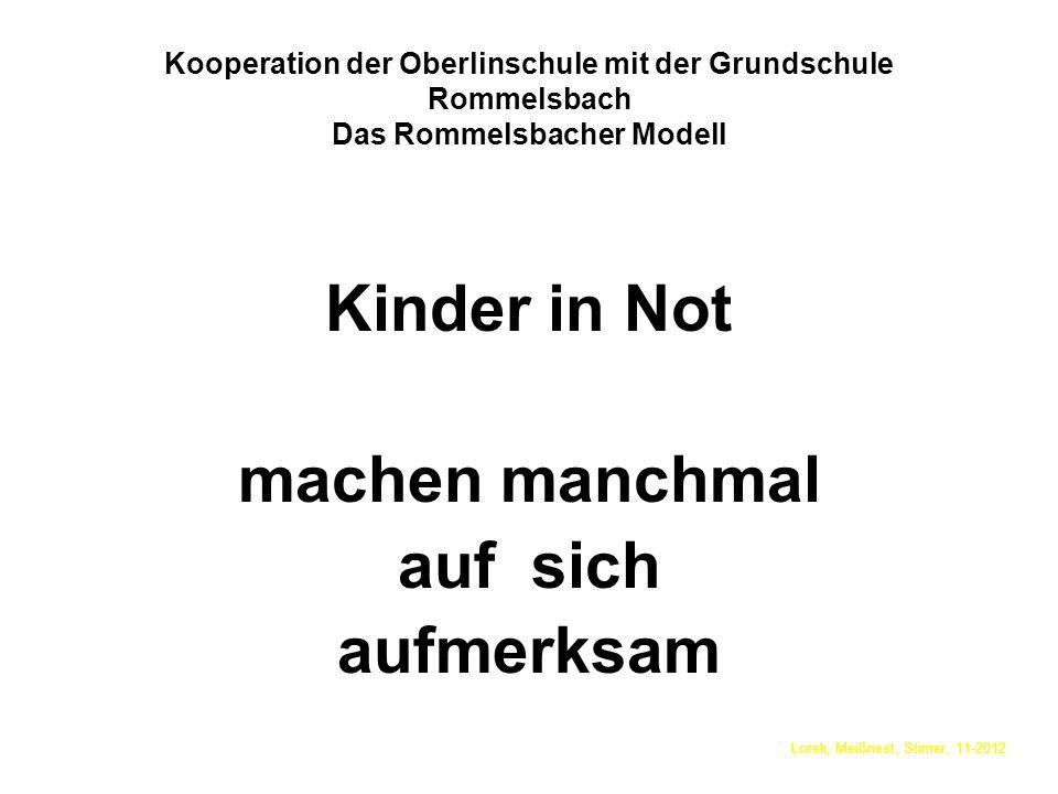 Kooperation der Oberlinschule mit der Grundschule Rommelsbach Das Rommelsbacher Modell Kinder in Not machen manchmal auf sich aufmerksam Lorek, Meißnest, Stirner, 11-2012