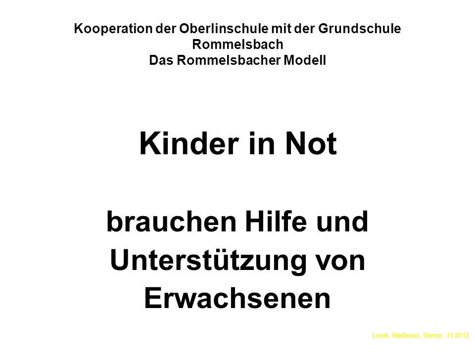 Kooperation der Oberlinschule mit der Grundschule Rommelsbach Das Rommelsbacher Modell Kinder in Not brauchen Hilfe und Unterstützung von Erwachsenen Lorek, Meißnest, Stirner, 11-2012
