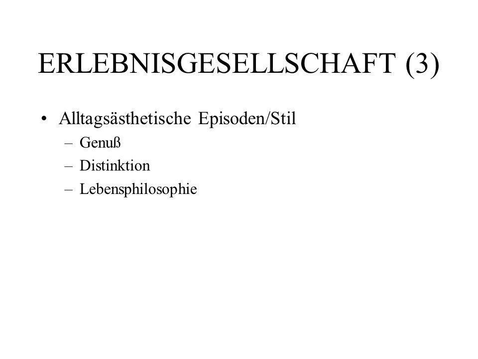 ERLEBNISGESELLSCHAFT (3) Alltagsästhetische Episoden/Stil –Genuß –Distinktion –Lebensphilosophie