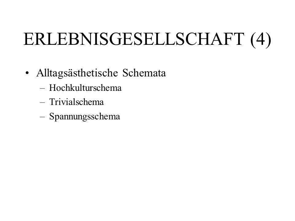 ERLEBNISGESELLSCHAFT (4) Alltagsästhetische Schemata –Hochkulturschema –Trivialschema –Spannungsschema