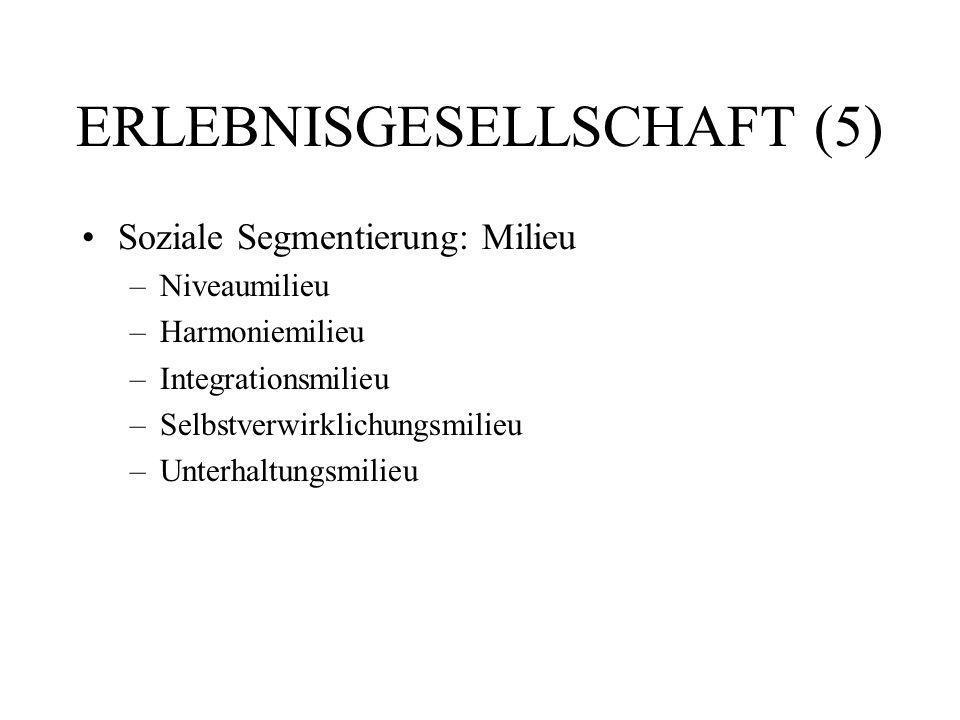 ERLEBNISGESELLSCHAFT (5) Soziale Segmentierung: Milieu –Niveaumilieu –Harmoniemilieu –Integrationsmilieu –Selbstverwirklichungsmilieu –Unterhaltungsmi