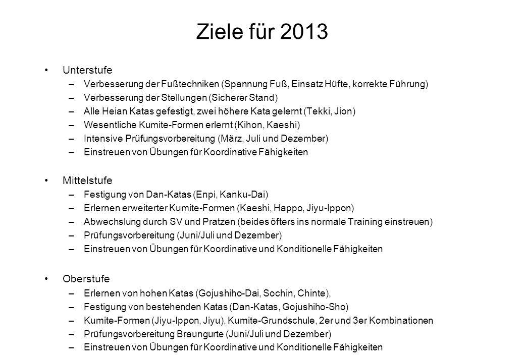 Ziele für 2013 Unterstufe –Verbesserung der Fußtechniken (Spannung Fuß, Einsatz Hüfte, korrekte Führung) –Verbesserung der Stellungen (Sicherer Stand)