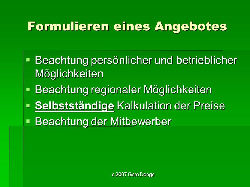 c 2007 Gero Dengs Werbung wo und wie.