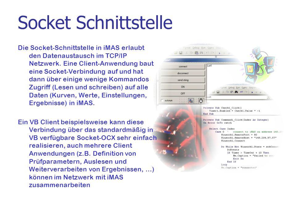Socket Schnittstelle Die Socket-Schnittstelle in iMAS erlaubt den Datenaustausch im TCP/IP Netzwerk. Eine Client-Anwendung baut eine Socket-Verbindung