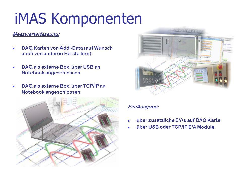 iMAS Komponenten Messwerterfassung: DAQ Karten von Addi-Data (auf Wunsch auch von anderen Herstellern) DAQ als externe Box, über USB an Notebook anges