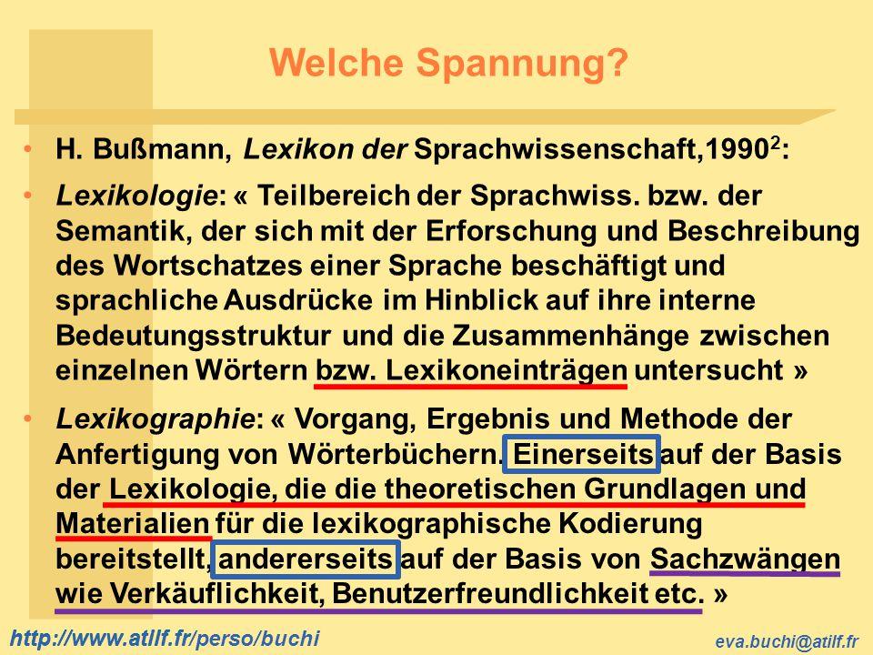 http://www.atilf.fr eva.buchi@atilf.fr http://www.atilf.fr/perso/buchi Welche Spannung? H. Bußmann, Lexikon der Sprachwissenschaft,1990 2 : Lexikograp