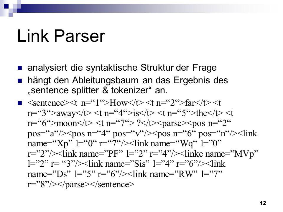 12 Link Parser analysiert die syntaktische Struktur der Frage hängt den Ableitungsbaum an das Ergebnis des sentence splitter & tokenizer an. How far a