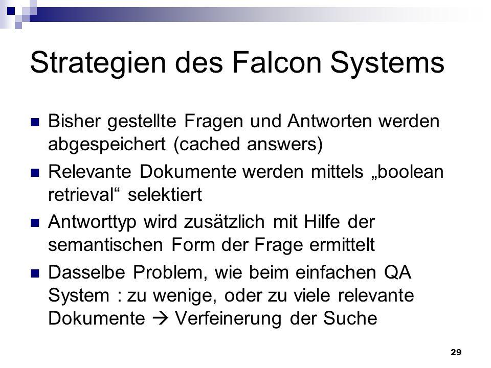 29 Strategien des Falcon Systems Bisher gestellte Fragen und Antworten werden abgespeichert (cached answers) Relevante Dokumente werden mittels boolea