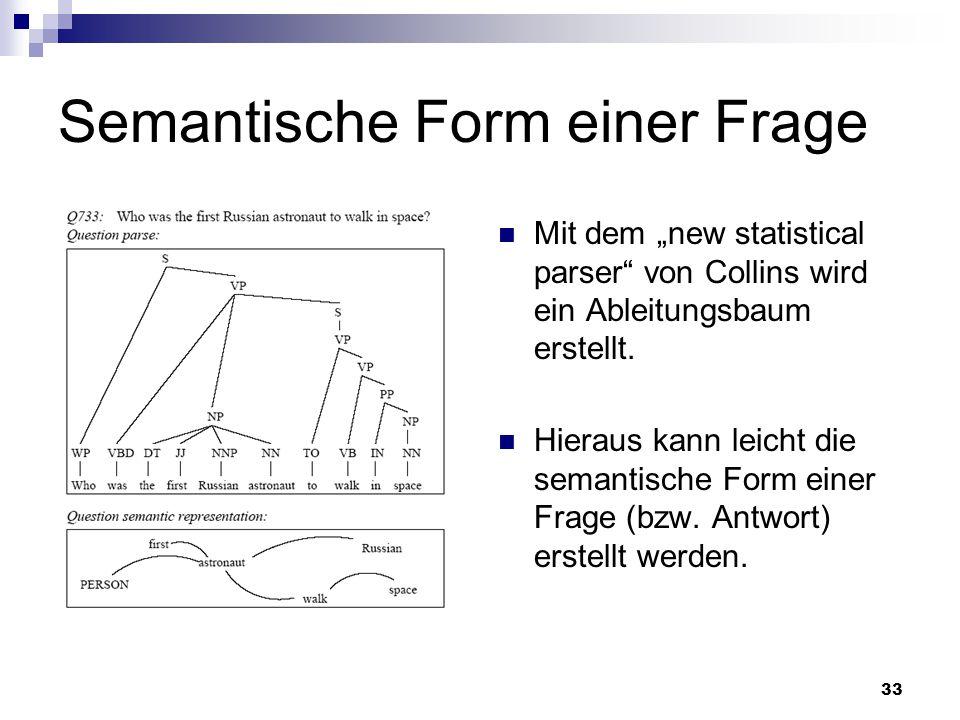 33 Semantische Form einer Frage Mit dem new statistical parser von Collins wird ein Ableitungsbaum erstellt. Hieraus kann leicht die semantische Form