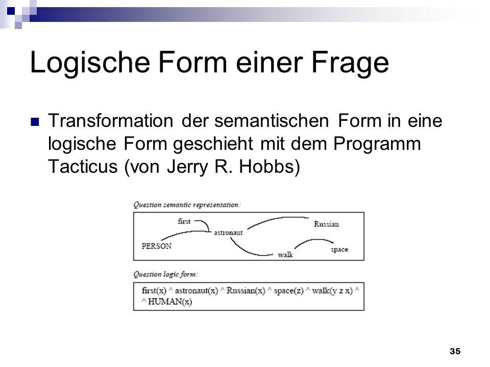 35 Logische Form einer Frage Transformation der semantischen Form in eine logische Form geschieht mit dem Programm Tacticus (von Jerry R. Hobbs)