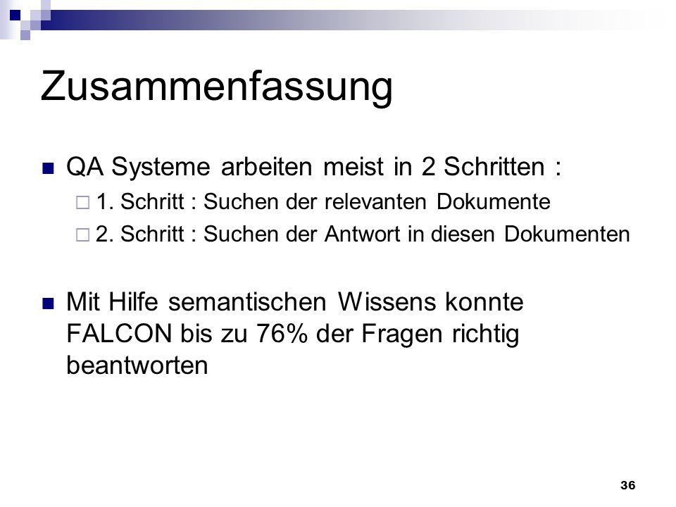 36 Zusammenfassung QA Systeme arbeiten meist in 2 Schritten : 1. Schritt : Suchen der relevanten Dokumente 2. Schritt : Suchen der Antwort in diesen D