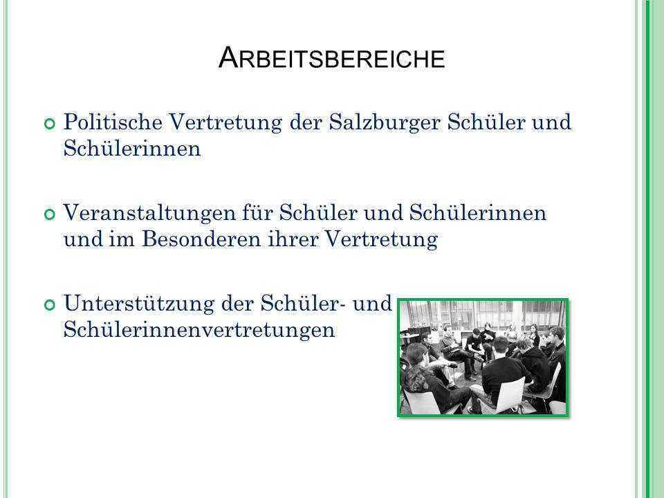 A RBEITSBEREICHE Politische Vertretung der Salzburger Schüler und Schülerinnen Veranstaltungen für Schüler und Schülerinnen und im Besonderen ihrer Vertretung Unterstützung der Schüler- und Schülerinnenvertretungen