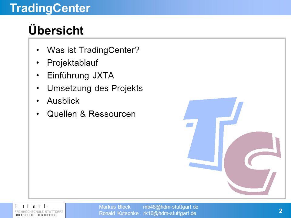 TradingCenter Markus Block mb48@hdm-stuttgart.de Ronald Kutschke rk10@hdm-stuttgart.de 13 Peer1 Umsetzung - Zusätzliche Informationen (2) Suche Suchergebnisse (Liste) Suchergebnis (Details) Lokaler Cache TradeNet Peer2