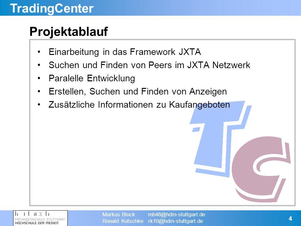TradingCenter Markus Block mb48@hdm-stuttgart.de Ronald Kutschke rk10@hdm-stuttgart.de 5 JXTA Einführung (1) Open Source P2P Projekt Von Sun Microsystems entwickelt JXTA ist eine Technologie, die Protokolle für eine P2P Umgebung spezifiziert –Programmiersprachenunabhängig –Plattformunabhängig –Protokollunabhängig Referenz Implementierung in Java verfügbar