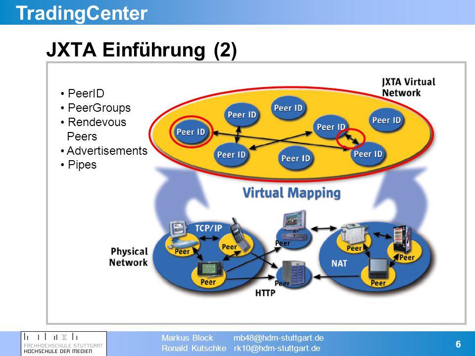 TradingCenter Markus Block mb48@hdm-stuttgart.de Ronald Kutschke rk10@hdm-stuttgart.de 7 Screenshot der Applikation (1) Übersicht der Peers im TradeNet