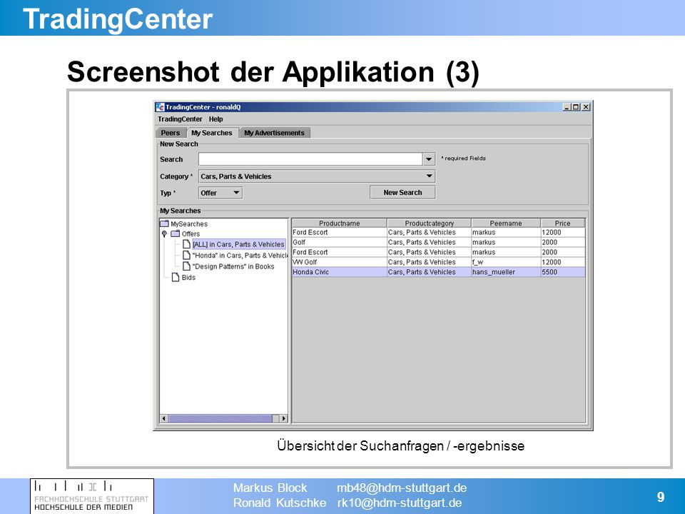 TradingCenter Markus Block mb48@hdm-stuttgart.de Ronald Kutschke rk10@hdm-stuttgart.de 9 Screenshot der Applikation (3) Übersicht der Suchanfragen / -ergebnisse