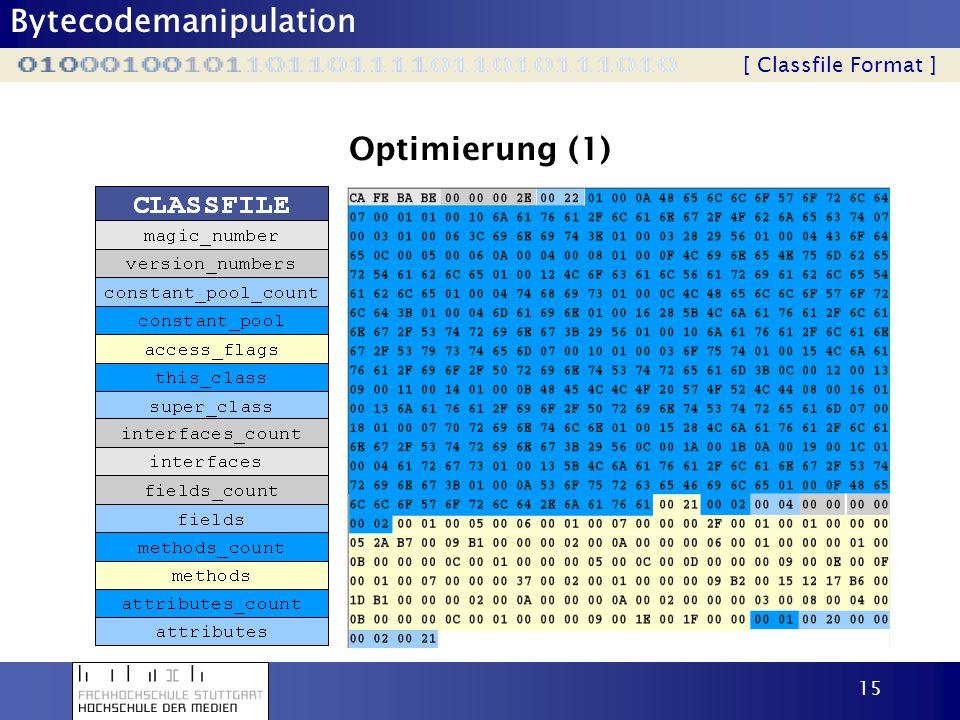 Bytecodemanipulation 15 Optimierung (1) [ Classfile Format ]