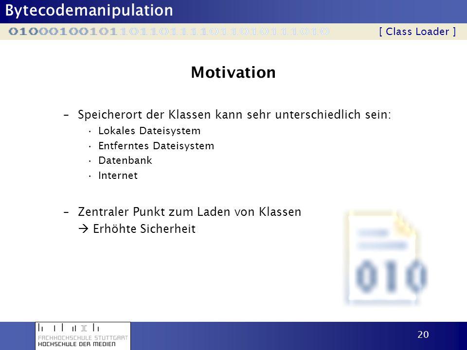 Bytecodemanipulation 20 Motivation –Speicherort der Klassen kann sehr unterschiedlich sein: Lokales Dateisystem Entferntes Dateisystem Datenbank Inter