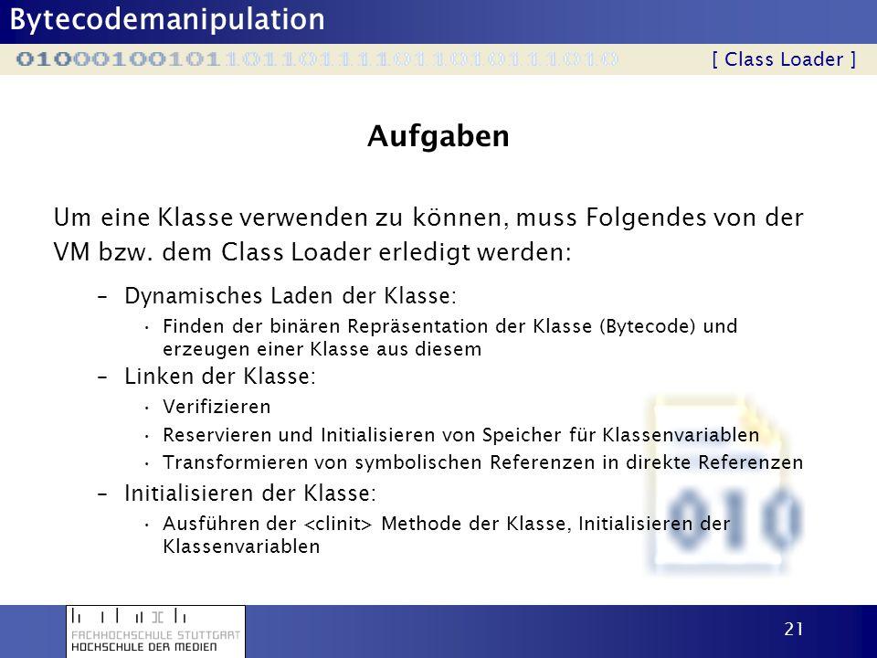 Bytecodemanipulation 21 Aufgaben Um eine Klasse verwenden zu können, muss Folgendes von der VM bzw. dem Class Loader erledigt werden: [ Class Loader ]