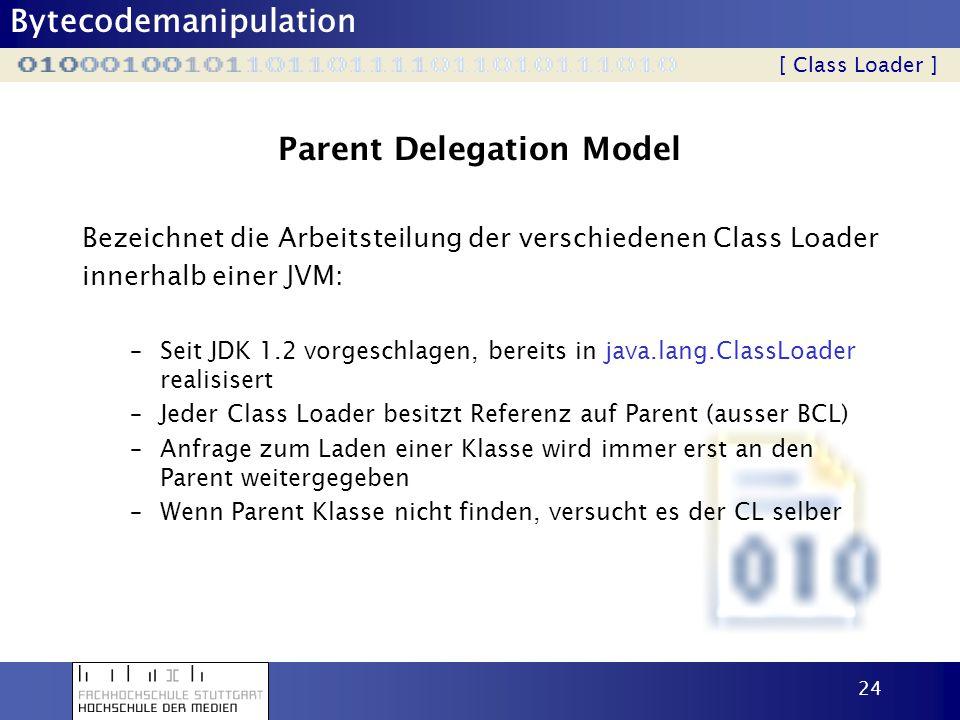 Bytecodemanipulation 24 Parent Delegation Model Bezeichnet die Arbeitsteilung der verschiedenen Class Loader innerhalb einer JVM: –Seit JDK 1.2 vorges