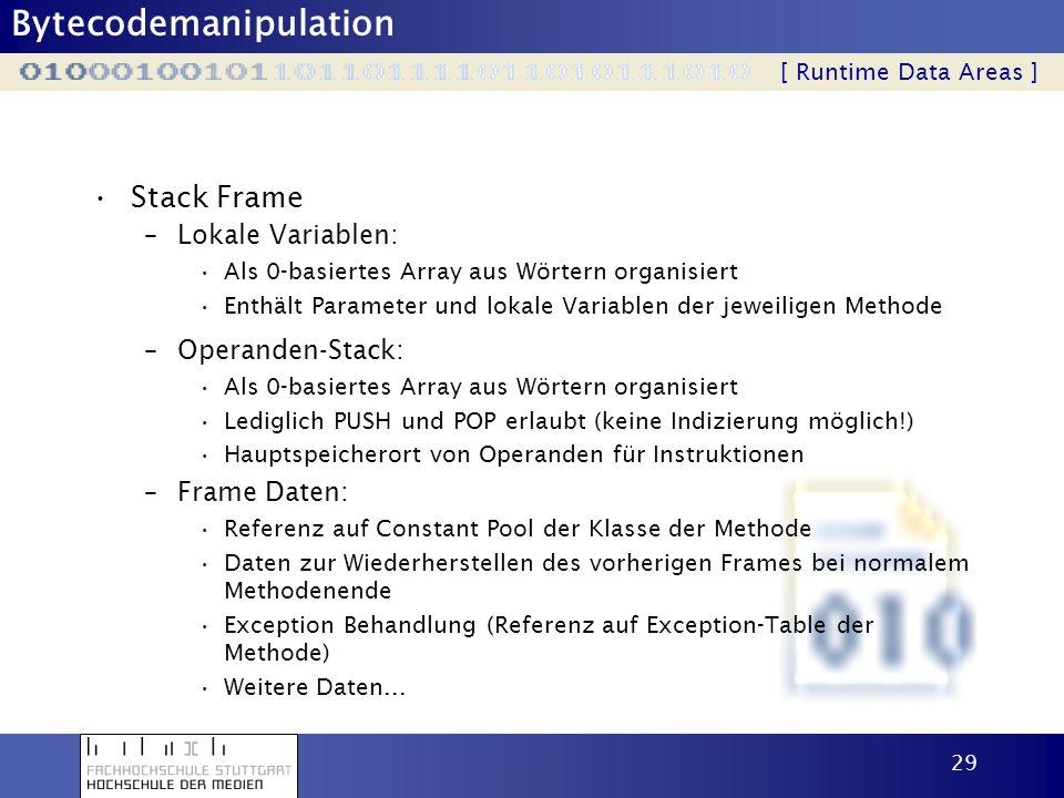 Bytecodemanipulation 29 Stack Frame [ Runtime Data Areas ] –Lokale Variablen: Als 0-basiertes Array aus Wörtern organisiert Enthält Parameter und loka