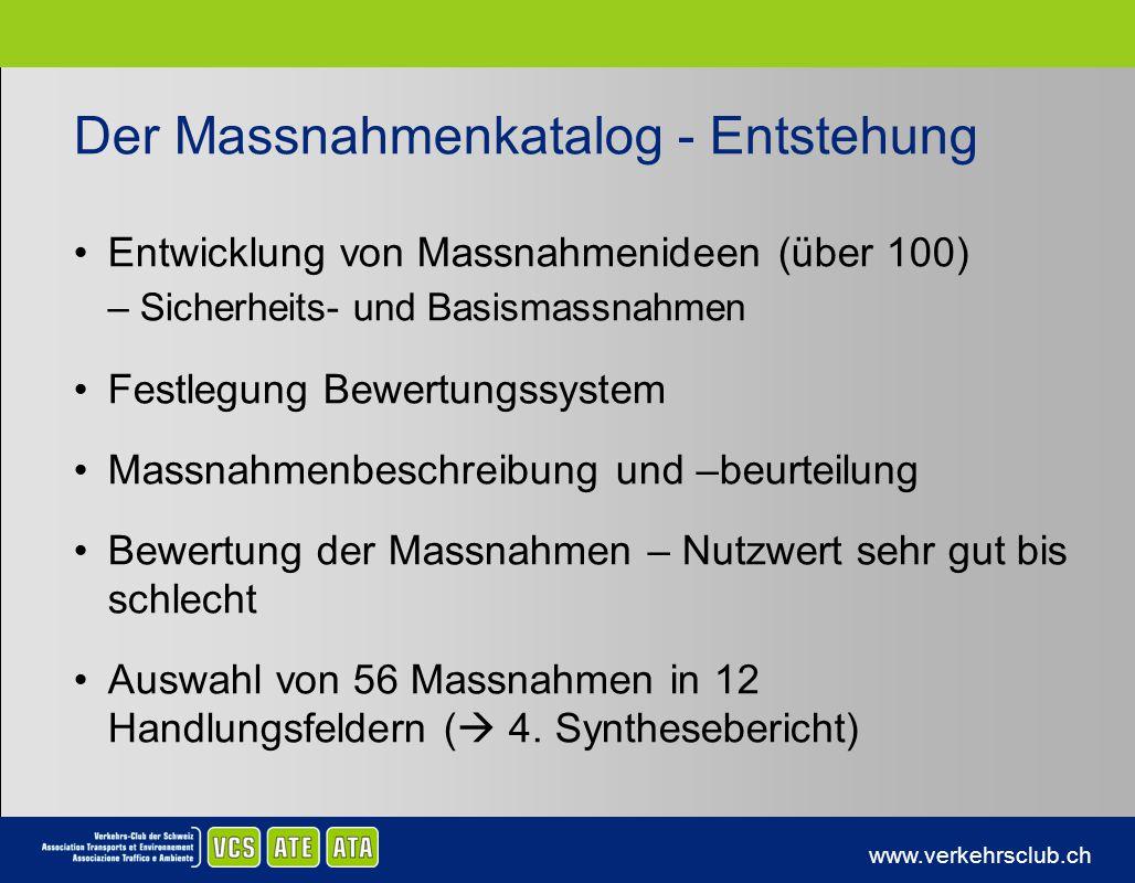 www.verkehrsclub.ch Der Massnahmenkatalog - Entstehung Entwicklung von Massnahmenideen (über 100) –Sicherheits- und Basismassnahmen Festlegung Bewertu