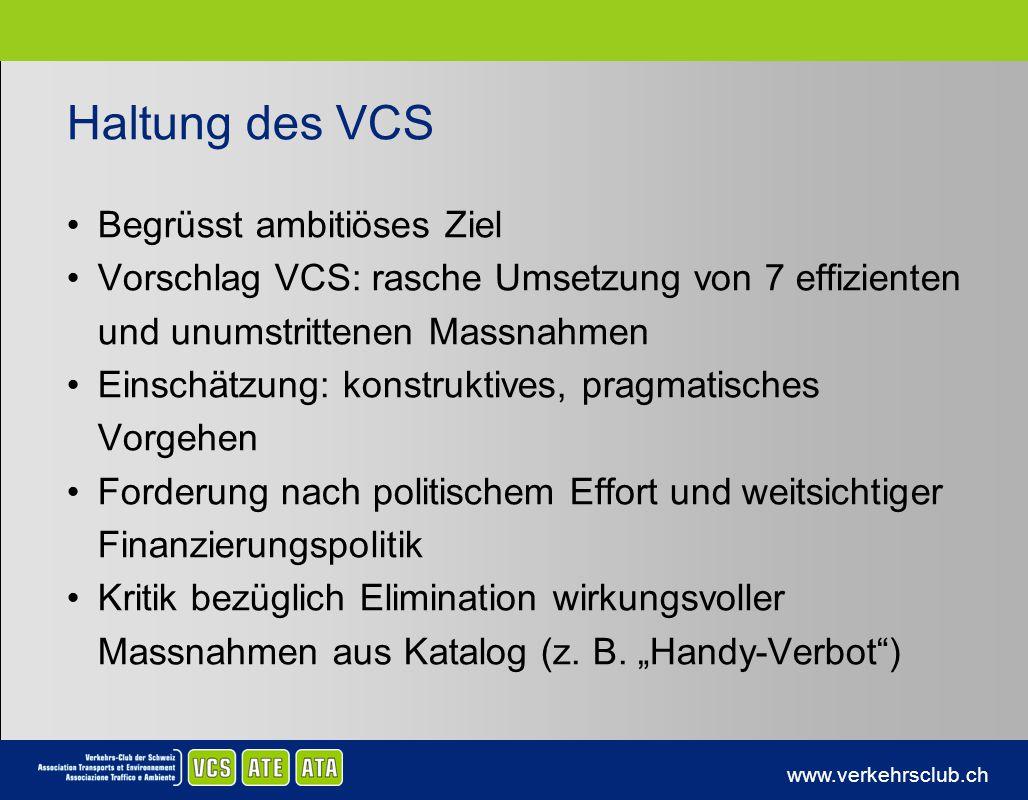 www.verkehrsclub.ch Haltung des VCS Begrüsst ambitiöses Ziel Vorschlag VCS: rasche Umsetzung von 7 effizienten und unumstrittenen Massnahmen Einschätz