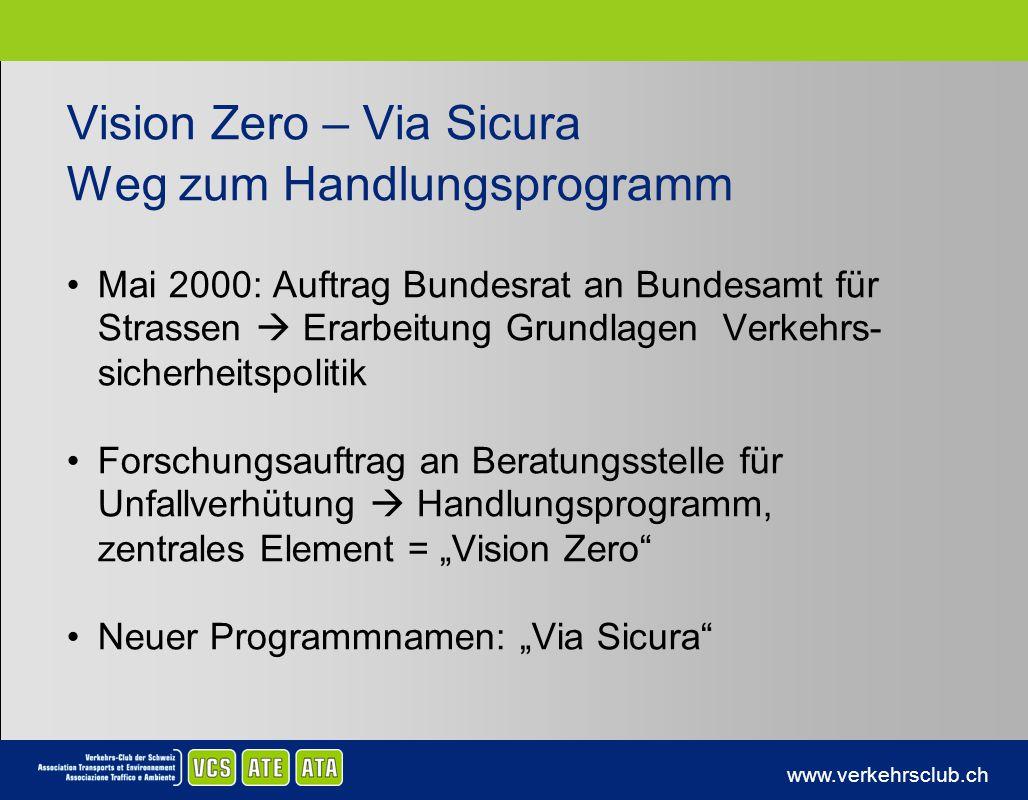 www.verkehrsclub.ch Vision Zero – Via Sicura Weg zum Handlungsprogramm Mai 2000: Auftrag Bundesrat an Bundesamt für Strassen Erarbeitung Grundlagen Ve