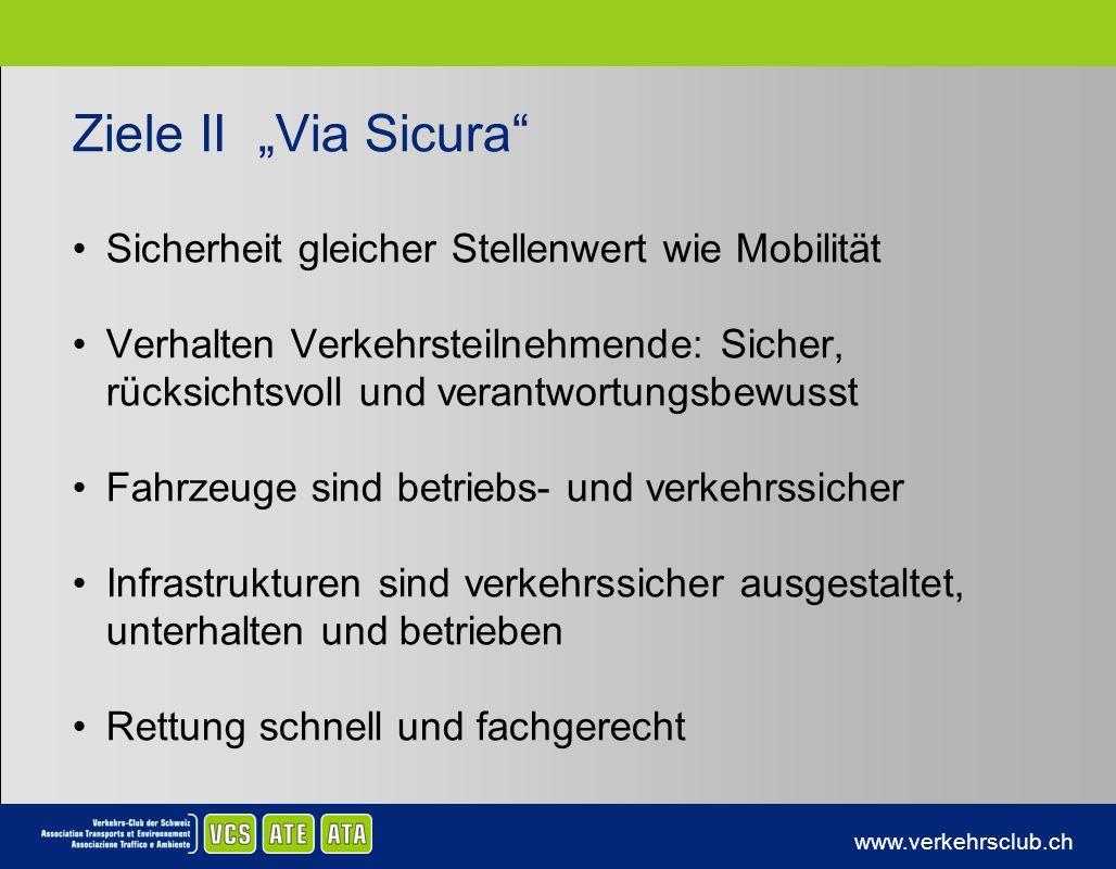 www.verkehrsclub.ch Ziele II Via Sicura Sicherheit gleicher Stellenwert wie Mobilität Verhalten Verkehrsteilnehmende: Sicher, rücksichtsvoll und veran
