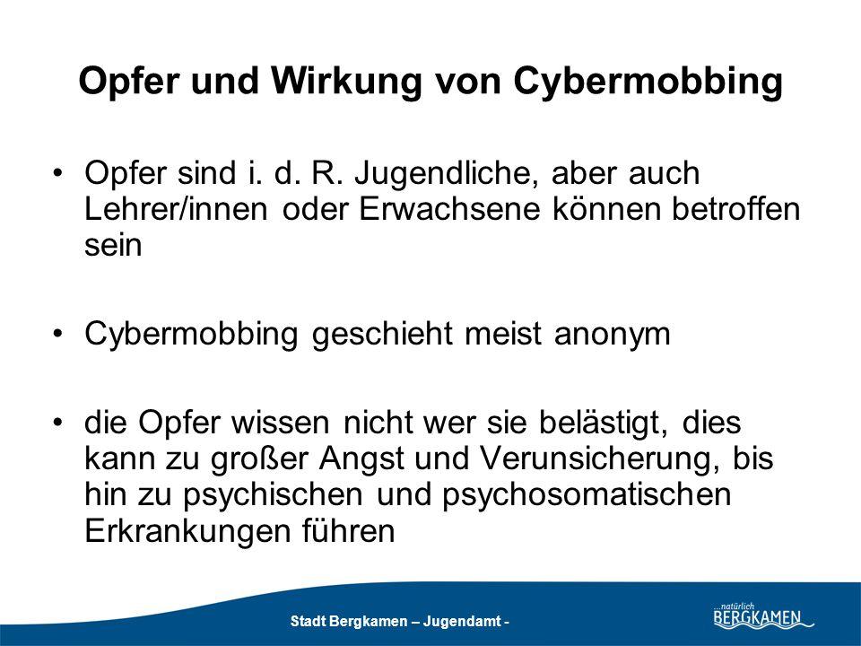 Stadt Bergkamen - Jugendamt - Stadt Bergkamen – Jugendamt - Schlechte Erfahrungen in Sozialen Online-Netzwerken Medienkonvergenz Monitoring 2010, Basis: N 1816 Bedrohung/Beleidigung/Mobbing 28 % Sex.