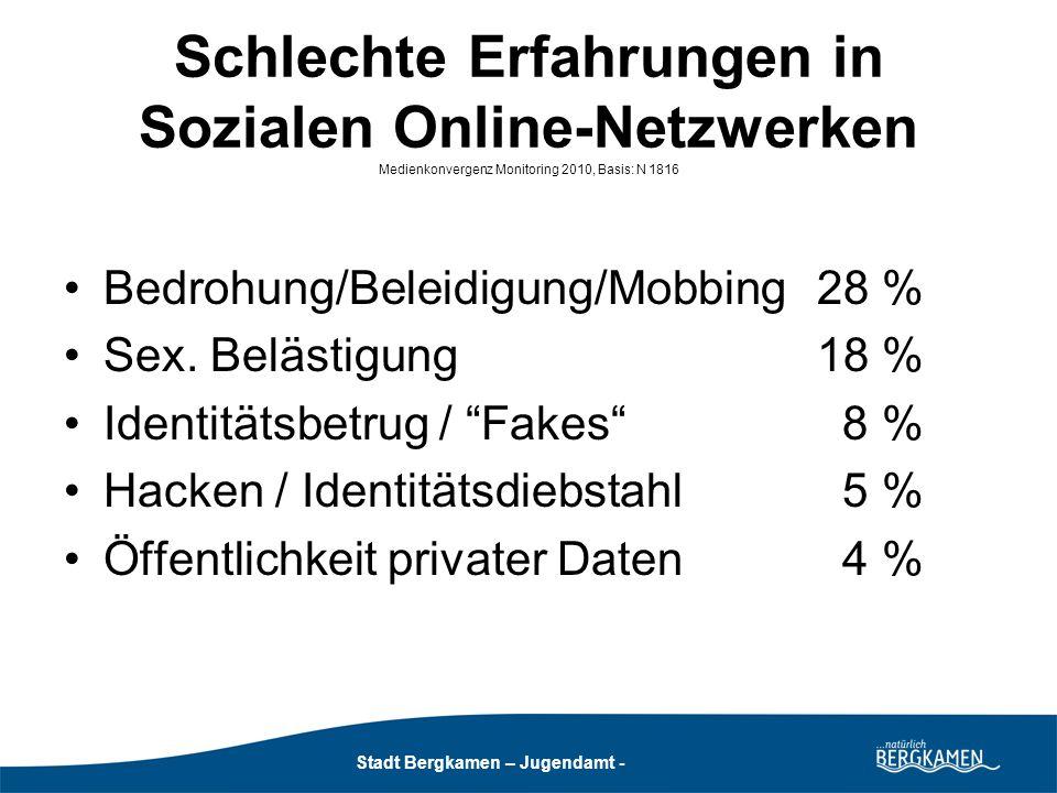Stadt Bergkamen - Jugendamt - Stadt Bergkamen – Jugendamt - Schlechte Erfahrungen in Sozialen Online- Netzwerken (nach Geschlecht) Medienkonvergenz Monitoring 2010, Basis: N 1816 Bed.