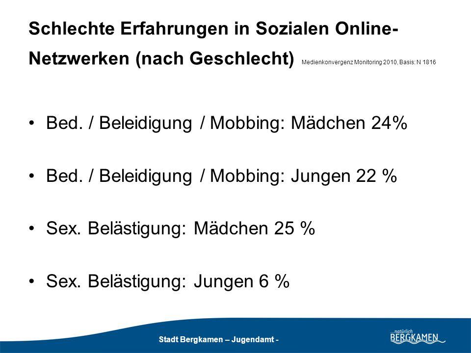 Stadt Bergkamen - Jugendamt - Stadt Bergkamen – Jugendamt - Bedrohung, Beleidigung, Mobbing Fast 25 % der Heran- wachsenden haben schlechte Erfahrungen mit psychischer Gewalt auf Netzwerkplattformen.