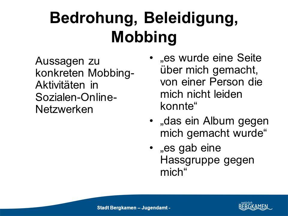 Stadt Bergkamen – Jugendamt - Ausprägungen des Cyber-Mobbings nach Willard (2007) (aus: Gewalt im Web 2.0; Grimm, P./Rhein, S./Clausen-Muradian, E.; Hrsg: NLM, 2008): Flaming (Beleidigung, Beschimpfung): Findet in der Regel in öffentlichen Bereichen des Internets statt, z.B.