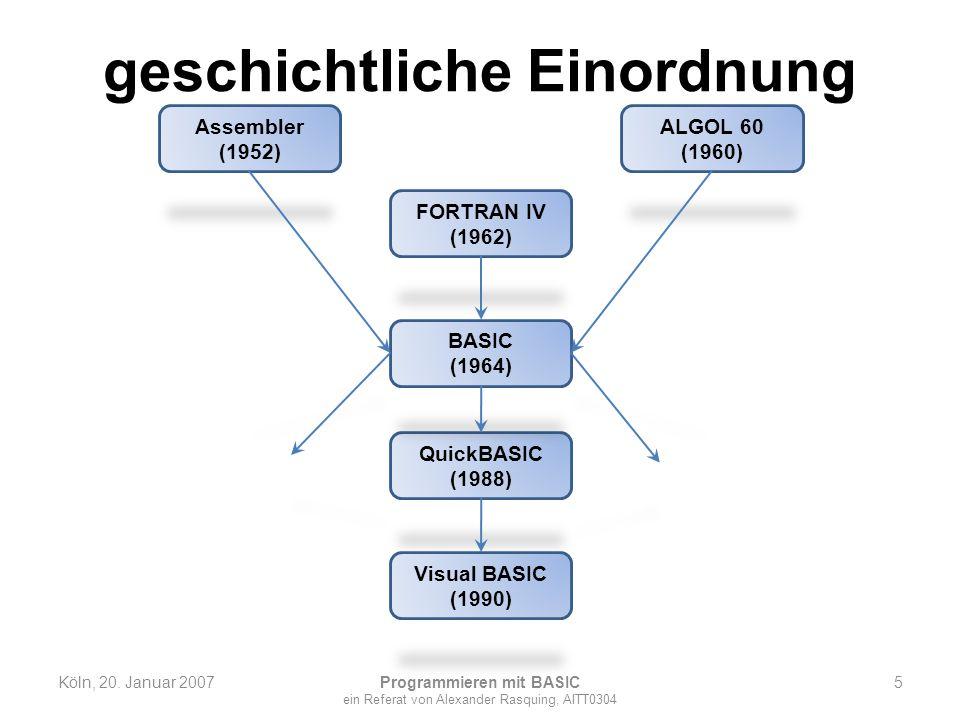 geschichtliche Einordnung Köln, 20. Januar 2007 Programmieren mit BASIC ein Referat von Alexander Rasquing, AITT0304 5 Assembler (1952) FORTRAN IV (19