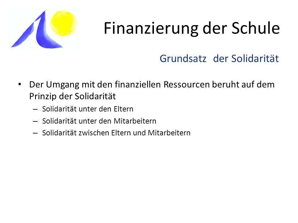 Finanzierung der Schule Der Umgang mit den finanziellen Ressourcen beruht auf dem Prinzip der Solidarität – Solidarität unter den Eltern – Solidarität