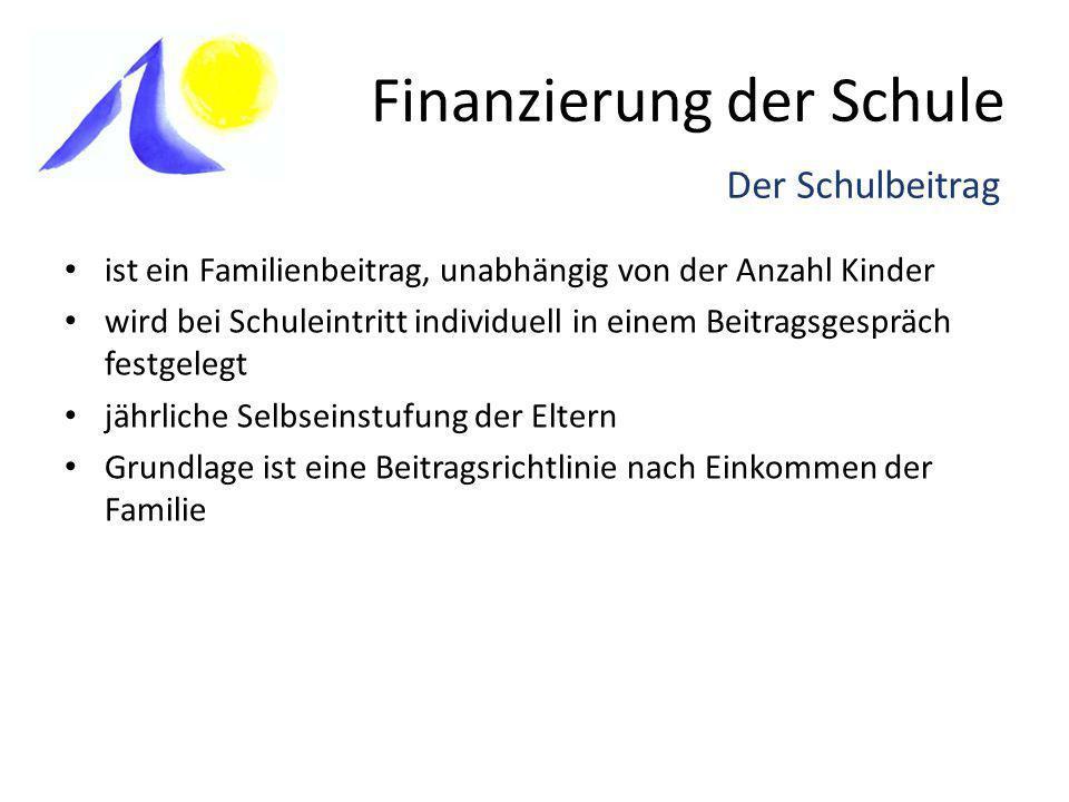 Finanzierung der Schule ist ein Familienbeitrag, unabhängig von der Anzahl Kinder wird bei Schuleintritt individuell in einem Beitragsgespräch festgel