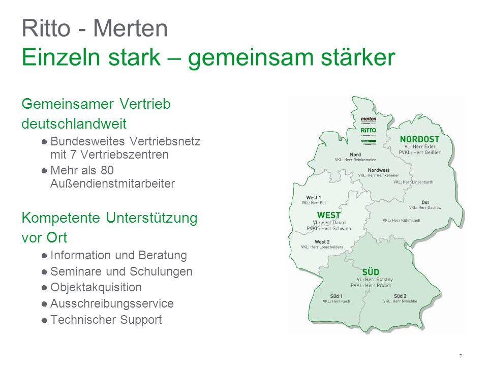 7 Gemeinsamer Vertrieb deutschlandweit Bundesweites Vertriebsnetz mit 7 Vertriebszentren Mehr als 80 Außendienstmitarbeiter Kompetente Unterstützung v