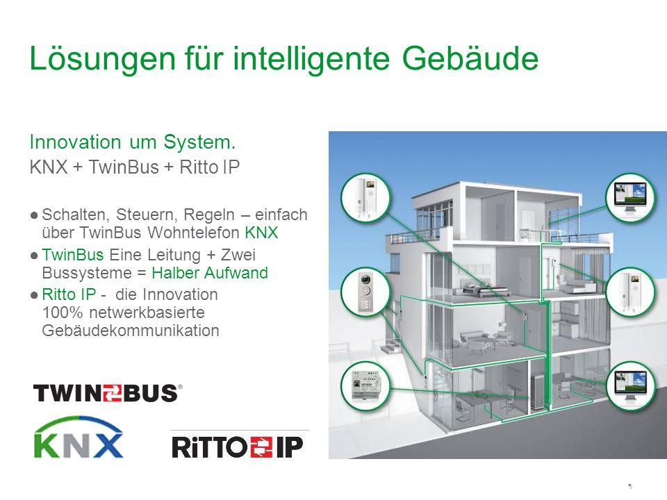 9 Innovation um System. KNX + TwinBus + Ritto IP Schalten, Steuern, Regeln – einfach über TwinBus Wohntelefon KNX TwinBus Eine Leitung + Zwei Bussyste