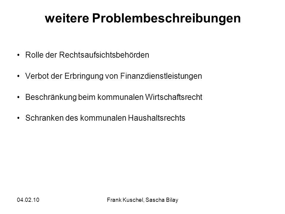 04.02.10Frank Kuschel, Sascha Bilay weitere Problembeschreibungen Rolle der Rechtsaufsichtsbehörden Verbot der Erbringung von Finanzdienstleistungen B