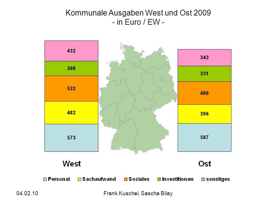 04.02.10Frank Kuschel, Sascha Bilay Kommunale Ausgaben West und Ost 2009 - in Euro / EW -