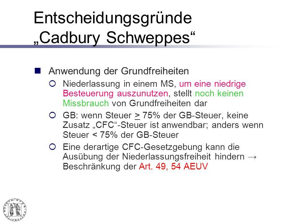 Entscheidungsgründe Cadbury Schweppes Anwendung der Grundfreiheiten Niederlassung in einem MS, um eine niedrige Besteuerung auszunutzen, stellt noch keinen Missbrauch von Grundfreiheiten dar GB: wenn Steuer > 75% der GB-Steuer, keine Zusatz CFC-Steuer ist anwendbar; anders wenn Steuer < 75% der GB-Steuer Eine derartige CFC-Gesetzgebung kann die Ausübung der Niederlassungsfreiheit hindern Beschränkung der Art.