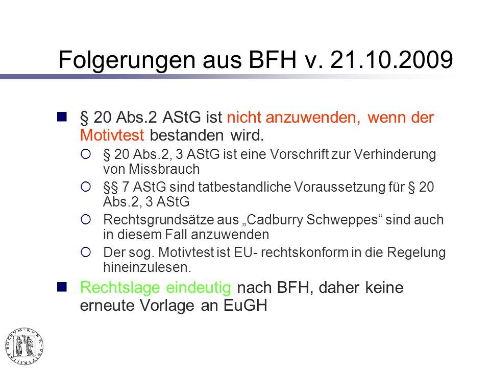 Folgerungen aus BFH v.
